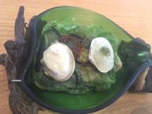 Almeja con su sofrito y Granizado con puré de Algas
