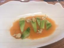 Verduras veraniegas con emulsión de tomate y arbequina